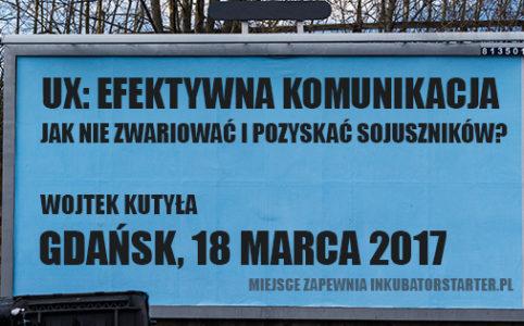 Billboard reklamujący spotkanie w Gdańsku. Taki na niby.