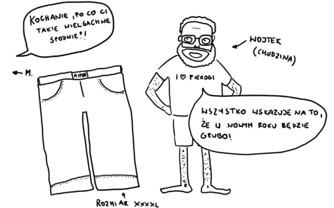 Wojtek kupił za duże spodnie po to, żeby zmieścić się w nie w nowym, grubym roku 2018