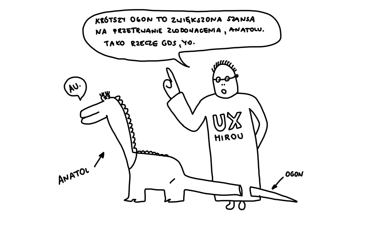 Dinozaur z krótszym ogonem