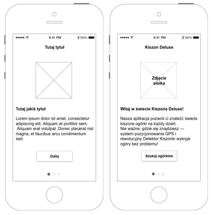 Makieta rewolucyjnej aplikacji Kiszon Deluxe pokazująca, czym różni się prototyp wypełniony właściwym tekstem od takiego bez tekstu.