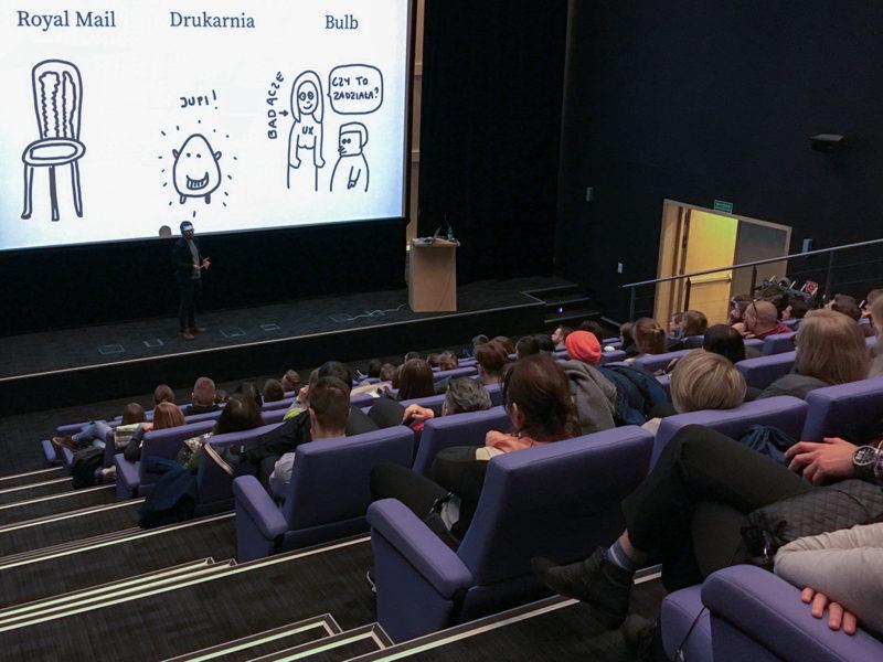 Wojtek Kutyła w sali wykładowej Strefy Startup w Gdyni, opowiadający o service design.