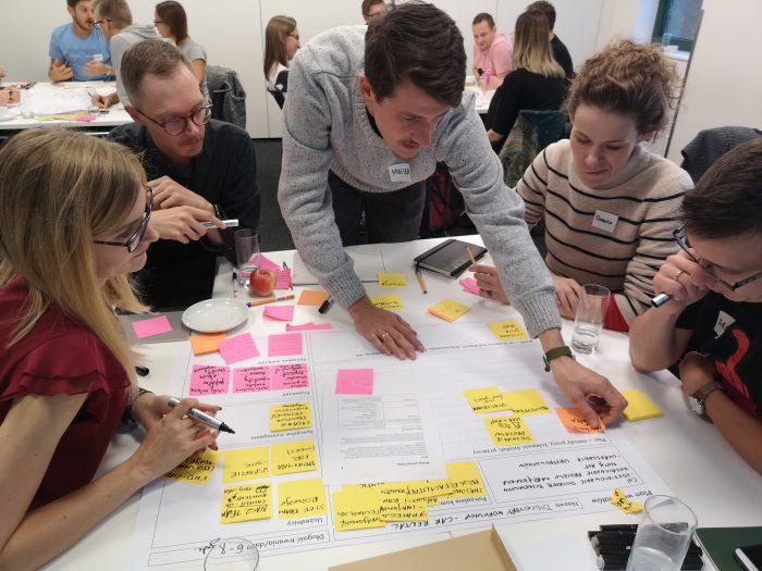 Praca grupowa w czasie szkolenia UX