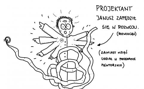 Janusz rozwija papier toaletowy