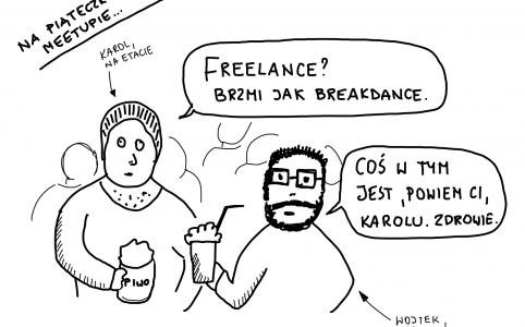 Karol i Wojtek rozmawiają na meetupie o freelance