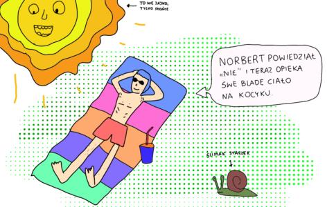 Norbert odpoczywa na kocyku w promieniach słońca po tym, jak odmówił klientowi